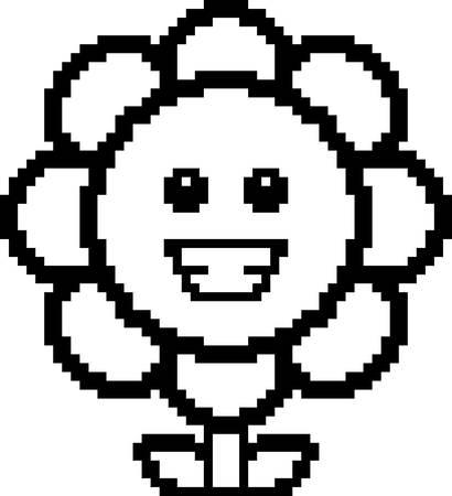 flower clip art: An illustration of a flower smiling in an 8-bit cartoon style. Illustration