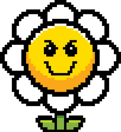 8bit: An illustration of a flower looking evil in an 8-bit cartoon style.