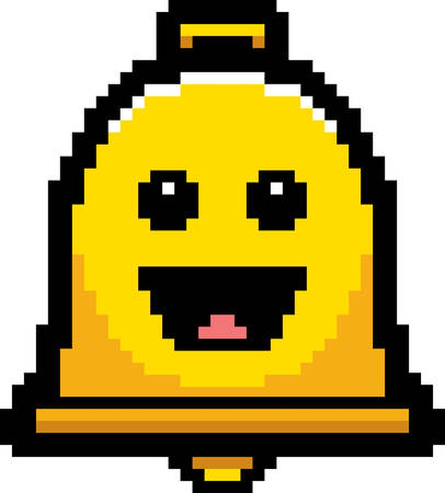 8bit: An illustration of a bell smiling in an 8-bit cartoon style.