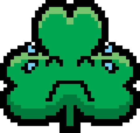 cartoon shamrock: An illustration of a shamrock crying in an 8-bit cartoon style.