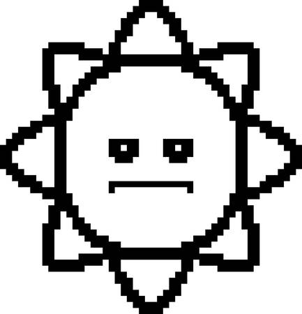 cartoon clipart: An illustration of the sun looking serious in an 8-bit cartoon style. Illustration