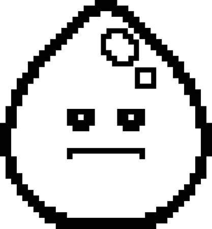 8bit: An illustration of a water drop looking serious in an 8-bit cartoon style.