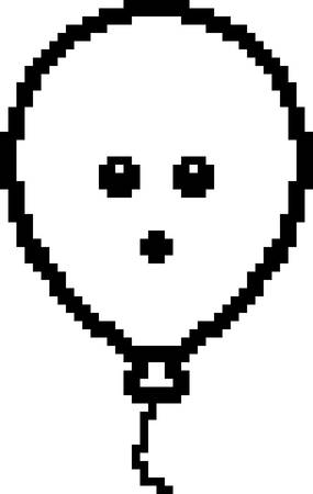 An illustration of a balloon looking surprised in an 8-bit cartoon style.