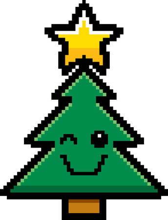 winking: An illustration of a Christmas tree winking in an 8-bit cartoon style.