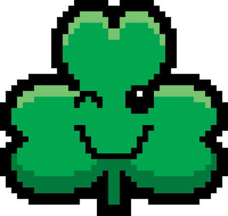 8bit: An illustration of a shamrock winking in an 8-bit cartoon style.