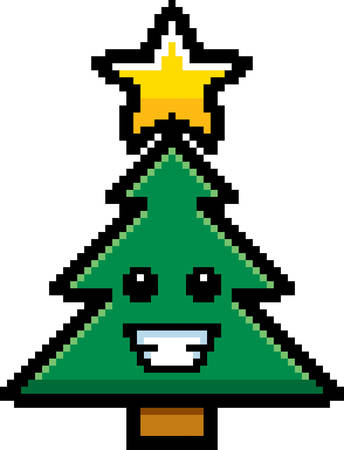 8bit: An illustration of a Christmas tree smiling in an 8-bit cartoon style. Illustration