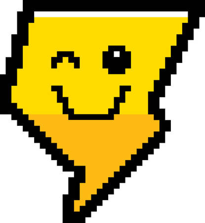 An illustration of a lightning bolt winking in an 8-bit cartoon style.