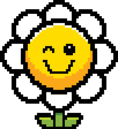 graphic art: An illustration of a flower winking in an 8-bit cartoon style.