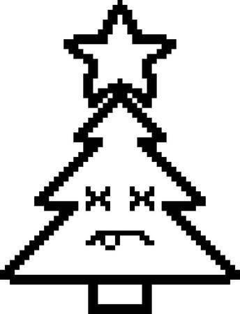 8bit: An illustration of a Christmas tree looking dead in an 8-bit cartoon style.