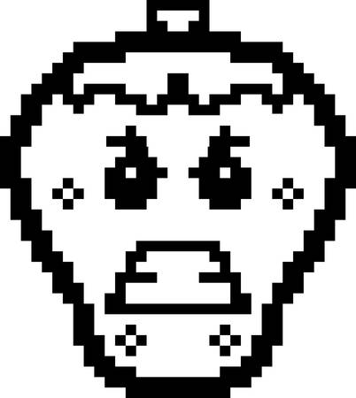 8bit: An illustration of a strawberry looking angry in an 8-bit cartoon style.