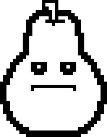An illustration of a pear looking serious in an 8-bit cartoon style.