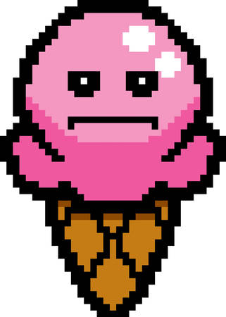 8bit: An illustration of an ice cream cone looking serious in an 8-bit cartoon style.