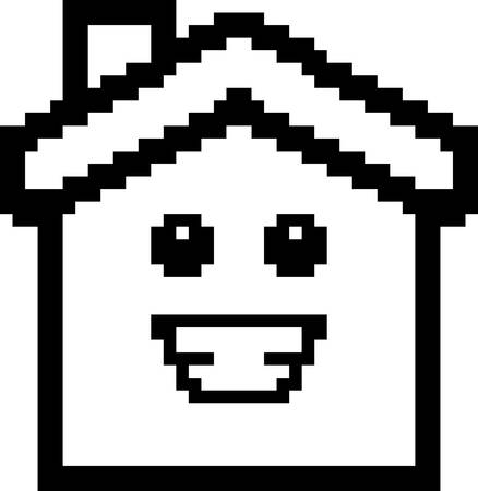 An illustration of a house smiling in an 8-bit cartoon style.