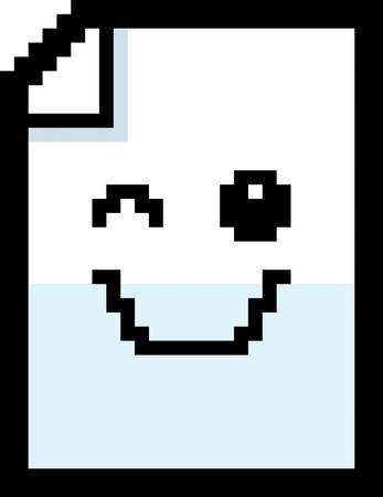 winking: An illustration of a piece of paper winking in an 8-bit cartoon style.