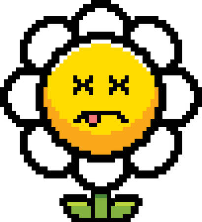 8bit: An illustration of a flower looking dead in an 8-bit cartoon style.