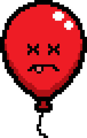 An illustration of a balloon looking dead in an 8-bit cartoon style. Ilustrace