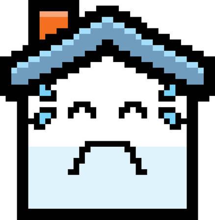An illustration of a house crying in an 8-bit cartoon style. Ilustração