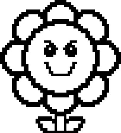 graphic art: An illustration of a flower looking evil in an 8-bit cartoon style.