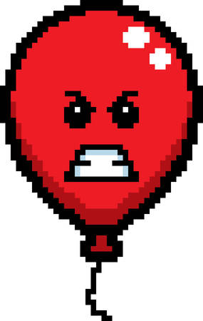 An illustration of a balloon looking angry in an 8-bit cartoon style. Ilustrace