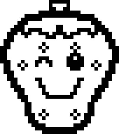 winking: An illustration of a strawberry winking in an 8-bit cartoon style.