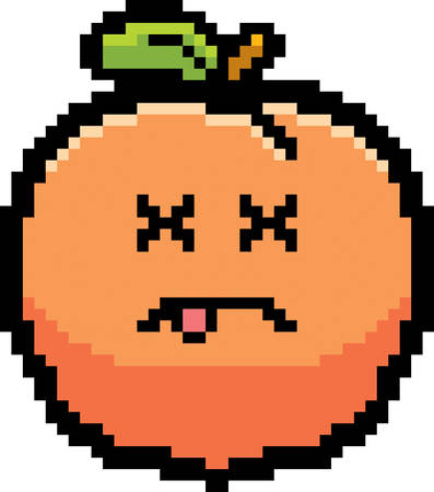 unconscious: An illustration of a peach looking dead in an 8-bit cartoon style.