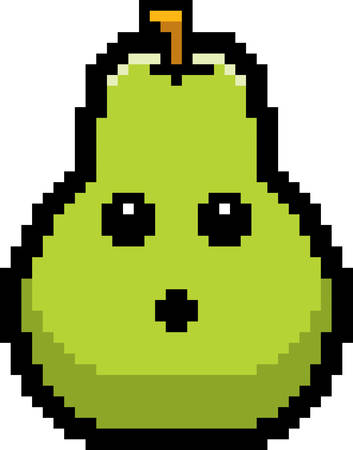 An illustration of a pear looking surprised in an 8-bit cartoon style.