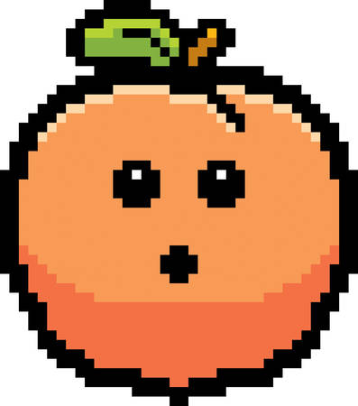An illustration of a peach looking surprised in an 8-bit cartoon style.