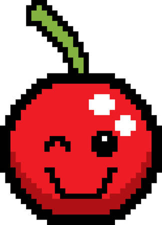 winking: An illustration of a cherry winking in an 8-bit cartoon style.