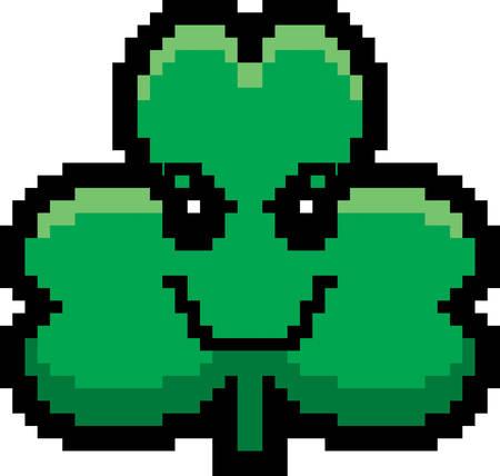 cartoon shamrock: An illustration of a shamrock looking evil in an 8-bit cartoon style. Illustration