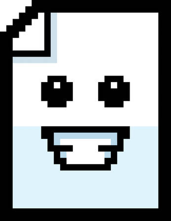 8bit: An illustration of a piece of paper smiling in an 8-bit cartoon style. Illustration