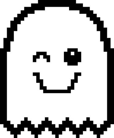 An illustration of a ghost winking in an 8-bit cartoon style.