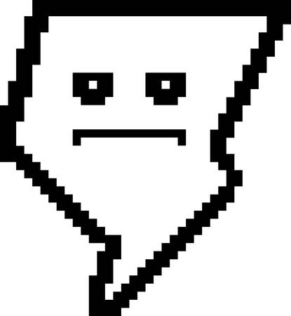bore: An illustration of a lightning bolt looking serious in an 8-bit cartoon style.