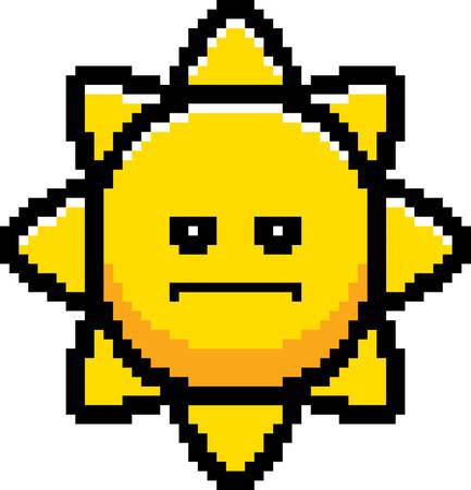An illustration of the sun looking serious in an 8-bit cartoon style. Ilustrace