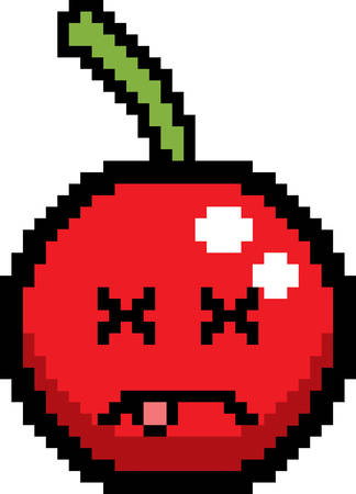 An illustration of a cherry looking dead in an 8-bit cartoon style.