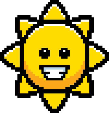 8bit: An illustration of the sun smiling in an 8-bit cartoon style. Illustration