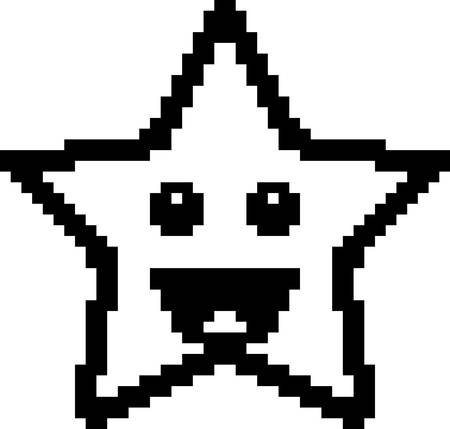 8bit: An illustration of a star smiling in an 8-bit cartoon style.