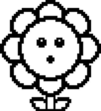 An illustration of a flower looking surprised in an 8-bit cartoon style.