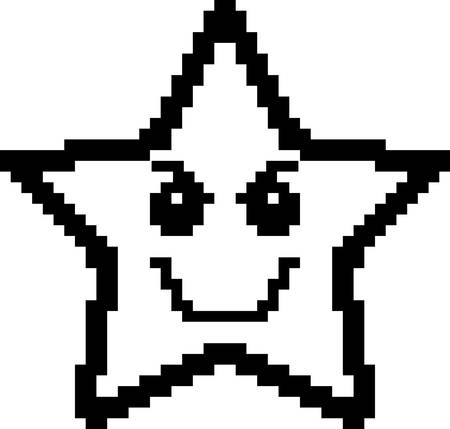 An illustration of a star looking evil in an 8-bit cartoon style.