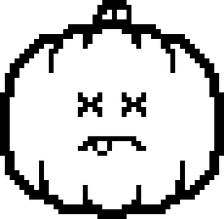 8bit: An illustration of a pumpkin looking dead in an 8-bit cartoon style.