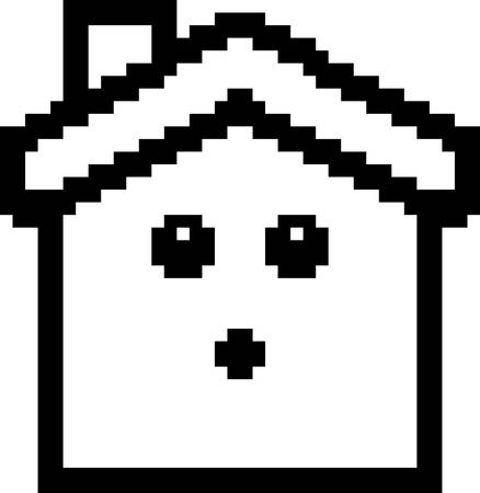 An illustration of a house looking surprised in an 8-bit cartoon style. Ilustrace