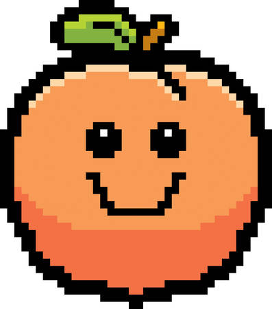 8bit: An illustration of a peach smiling in an 8-bit cartoon style. Illustration