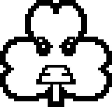 cartoon shamrock: An illustration of a shamrock looking angry in an 8-bit cartoon style.