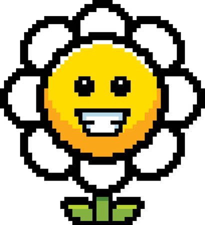 flower illustration: An illustration of a flower smiling in an 8-bit cartoon style. Illustration
