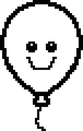 8bit: An illustration of a balloon smiling in an 8-bit cartoon style.