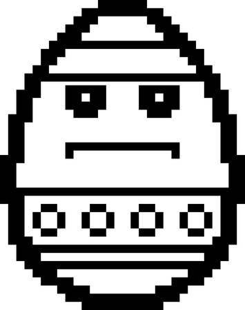8bit: An illustration of an Easter egg looking serious in an 8-bit cartoon style. Illustration