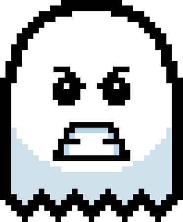 8bit: An illustration of a ghost looking angry in an 8-bit cartoon style.