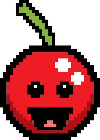 fruit clipart: An illustration of a cherry smiling in an 8-bit cartoon style. Illustration