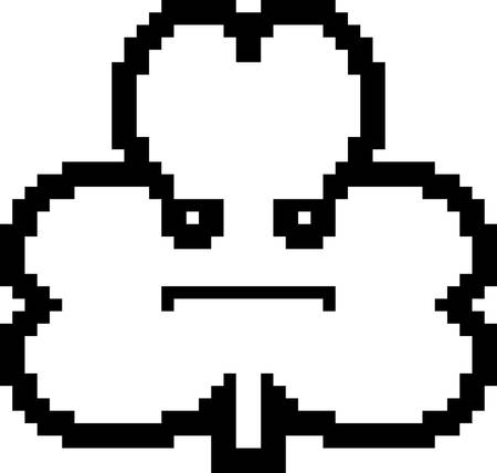 8bit: An illustration of a shamrock looking serious in an 8-bit cartoon style.