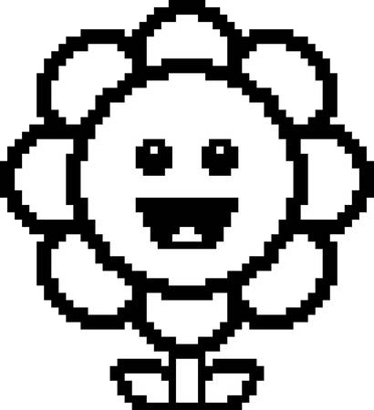 8bit: An illustration of a flower smiling in an 8-bit cartoon style. Illustration