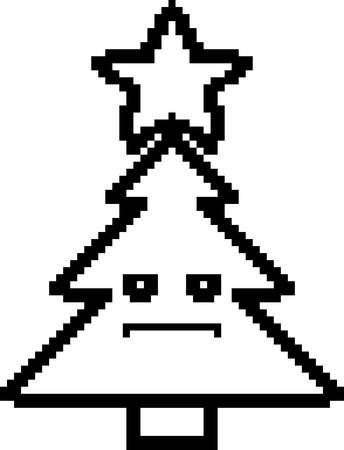 serious: An illustration of a Christmas tree looking serious in an 8-bit cartoon style. Illustration